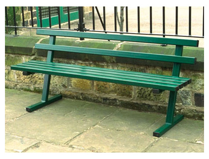 Vandal resistant steel bench green