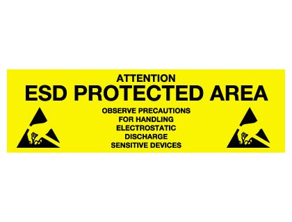 150 x 500 mm attention esd protected area