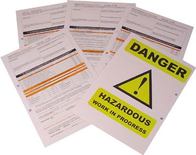 Training packs - 297 x 210 mm work permit for asbestos present