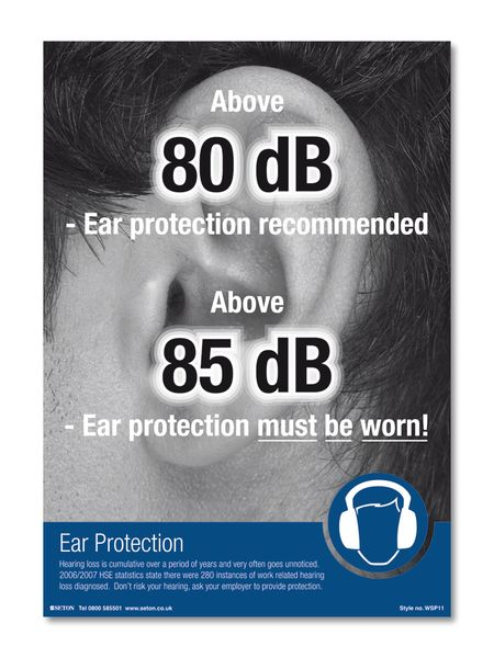 A4 Poster Protect Your Hearing Laminated Safety Posters