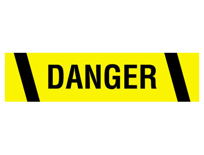 Tapes & signs 75mm x 100 metre danger