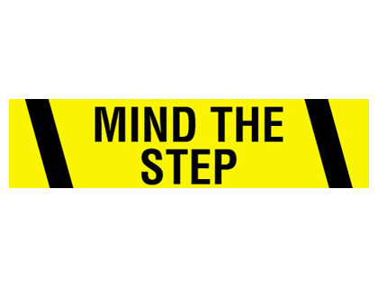 Tapes & signs 75mm x 100 metre mmind the step