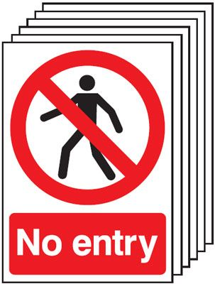 A5 No Entry Safety Labels