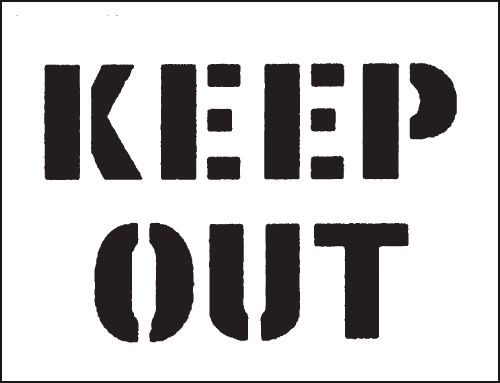 Reusable Stencil Keep Out 300 x 400 mmstencil