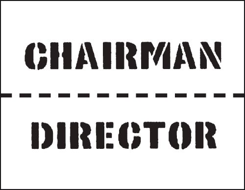 Reusable Stencil Chairman 800 x 600 mm Safety Signs