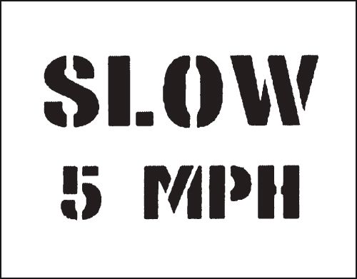 Reusable Stencil Slow 5Mph 800 x 600 mm Safety Signs