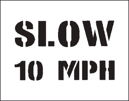 Reusable Stencil Slow 10Mph 800 x 600 mm Safety Signs