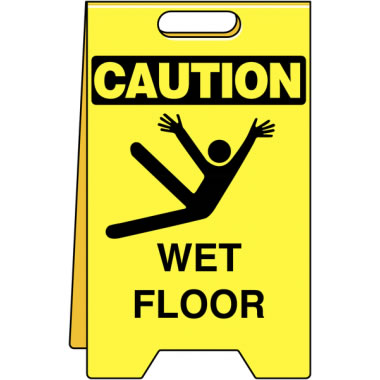 Sign Floor 12 Width x 20In Caut Wet Floor With / Pic