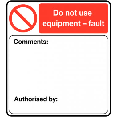 50 x 45 mm Pack 100 Do Not Use Equipment