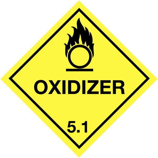 100 x 100 mm Oxidizer 5.1 Easy Peel Self Adhesive Label Hazchem Easy Peel Labels