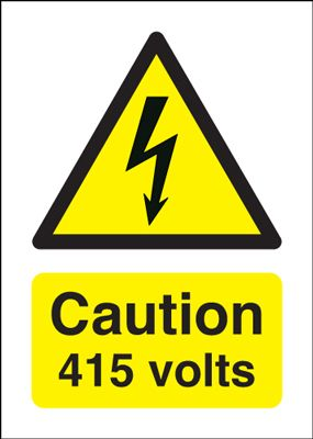 150 x 125 mm Caution 415 Volts Safety Labels