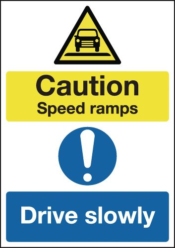 A5 Caution Speed Ramps Drive Slowly Safety Labels
