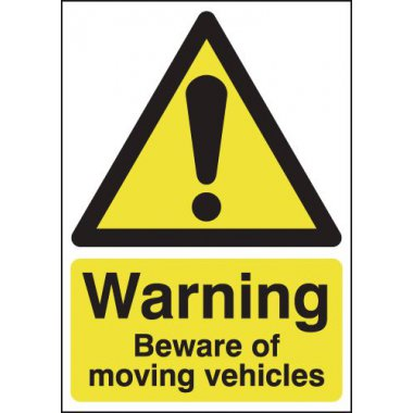 A5 Warning Beware of Moving Vehicles Safety Labels
