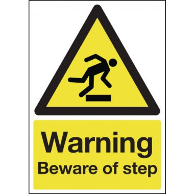150 x 125 mm Warning Beware of Step Safety Labels