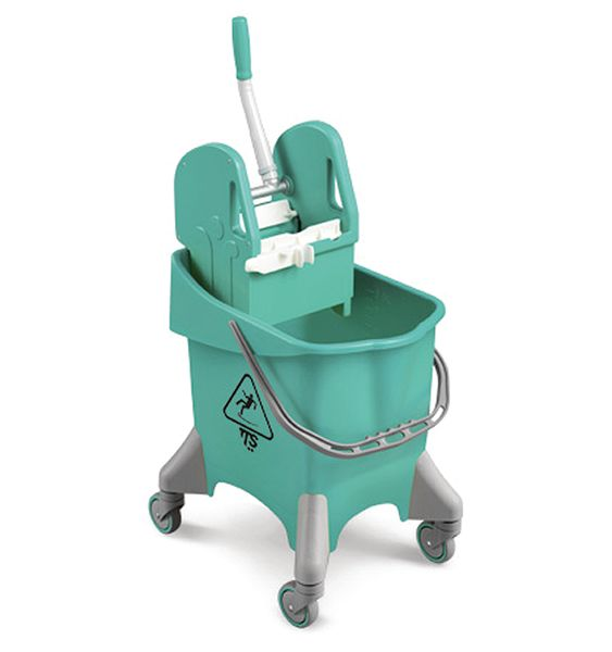 Wheeled Bucket With Wringer Green 30 Litre Buckets