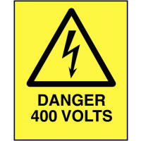 102 x 76 mm Pack of 5 Danger 400 Volts