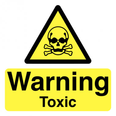 50 x 50 mm Pack 10 Warning Toxic Safety Signs