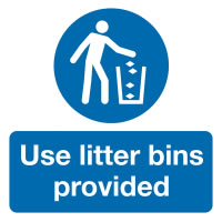 50 x 50 mm Pack 10 Use Litter Bins Provided Labels