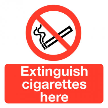 50 x 50 mm Pack 10 Extinguish Cigarettes Here