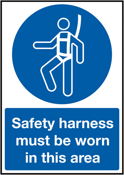 150 x 125 mm Safety Harness Must Be Worn In Safety Labels