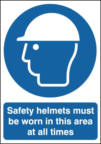 100 x 250 mm Safety Helmets Must Be Worn In Safety Labels