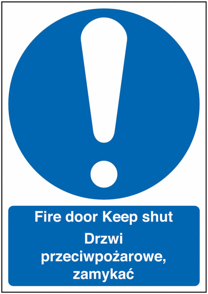 400 x 300 mm Fire Door Keep Shut (Polish) Fire Signs