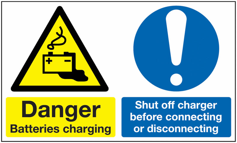 450 x 600 mm Danger Batteries Charging Shut Safety Signs