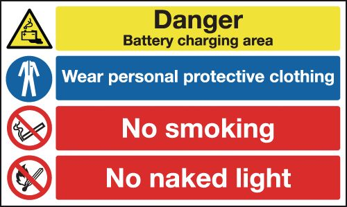 450 x 600 mm Danger Battery Charging Area Safety Signs