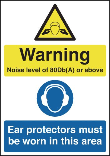 150 x 125 mm Warning Noise Level of 80Db(A) Safety Labels