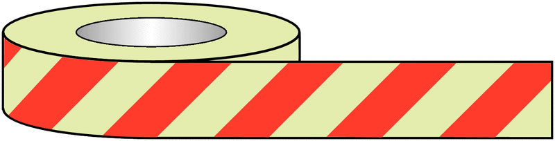 Photoluminescent Floor Tape Red Chevron 50mm x 10M Tapes