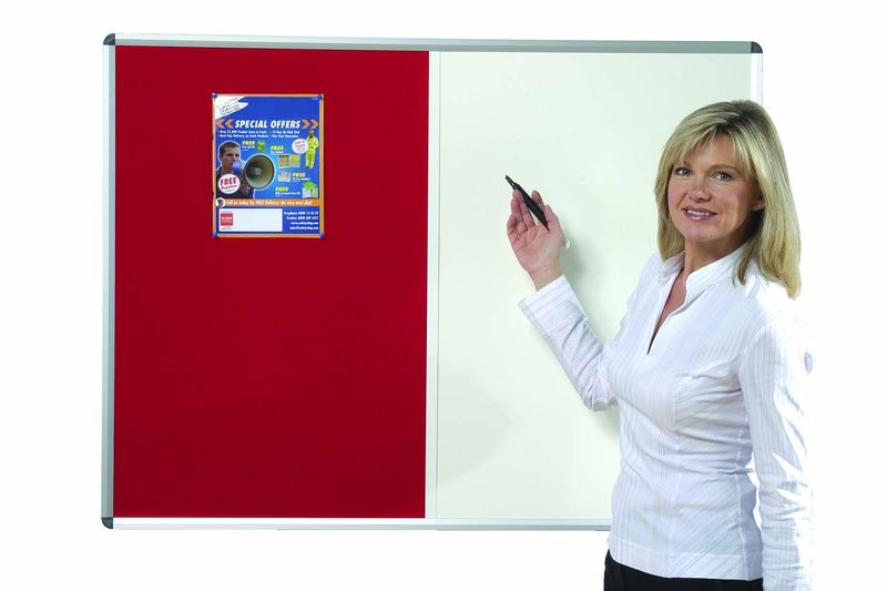 Pin And Write Combi Board Red 900 x 600 mm  Lockers