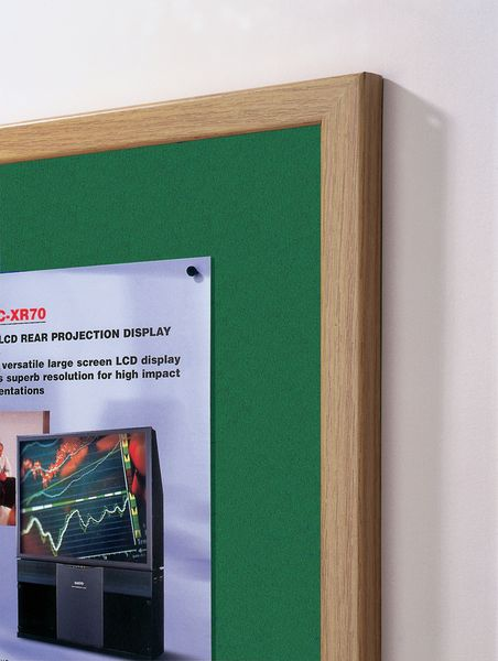 Eco Notice Board Oak Frame 600 x 900 mm Green