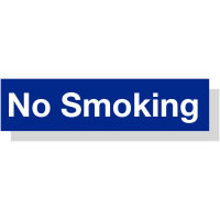 Smoking Area 50 x 200 mm Blue / White Engraved