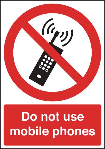 100 x 100 mm Diameter Do Not Use Mobile Phones Safety Signs