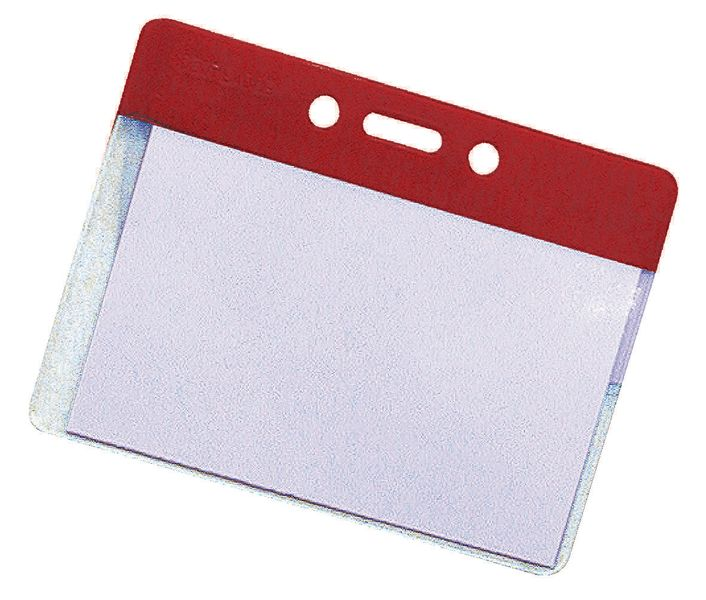 Badge Pocket Holders Red Pack of 50