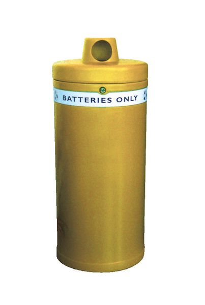 Battery Bin With Liner Yellow Low 52 Litre Cap Bins