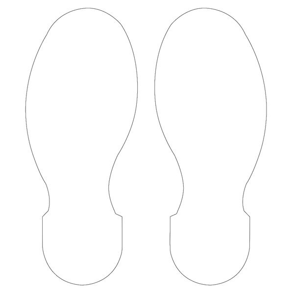 10 Inch x 3.5 Inch White Footprint 10 Pack
