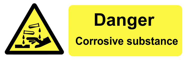 50 x 150 mm Pack 6 Corrosive Safety Signs