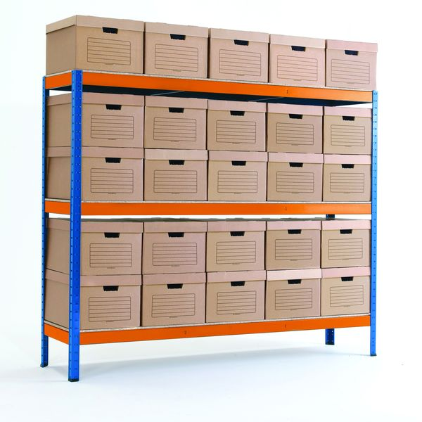 Storage Shelves With 25 Document Boxes Shelves