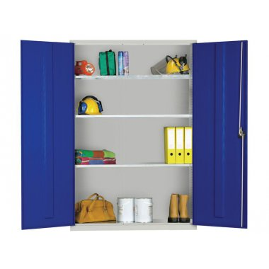 Extra Wide 3 Shelves Cupboard - Grey Dr
