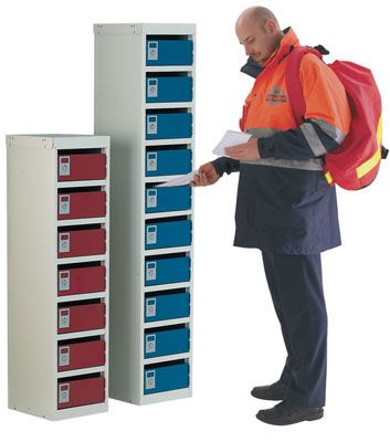Post Box Lockers - 7 Boxes - Red Lockers