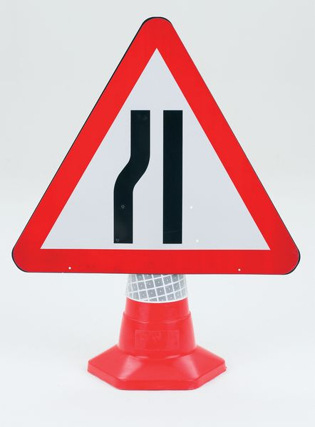 Traffic Cone Sign 600 mm Road Narrow Left Road Signs