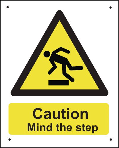 400 x 300 mm Vr Caution Mind The Step Safety Signs