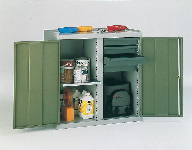 Tool Cabinet 2 Drawer And 2 Shelf Green Cabinet