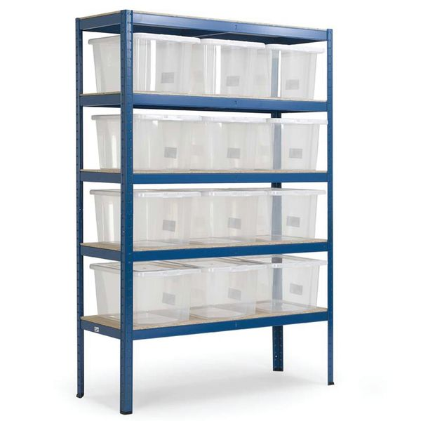 Storage Shelves With 8 Plastic Boxes Shelves