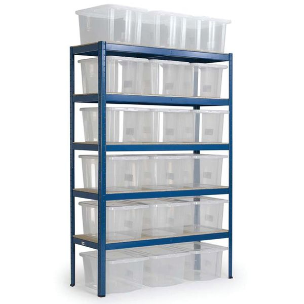 Storage Shelves With 12 Plastic Boxes Shelves