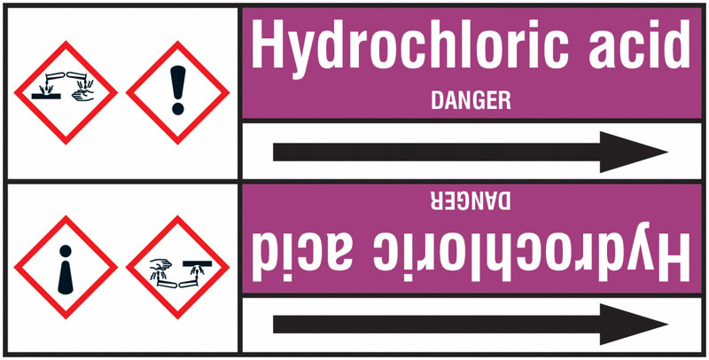 Hydrochloric Acid 127 x 33 mm Rl T3  Pipemarkers