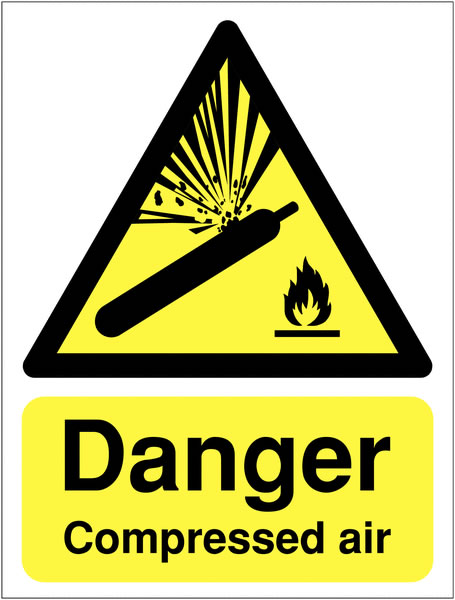 A4 Danger Compressed Air Safety Signs
