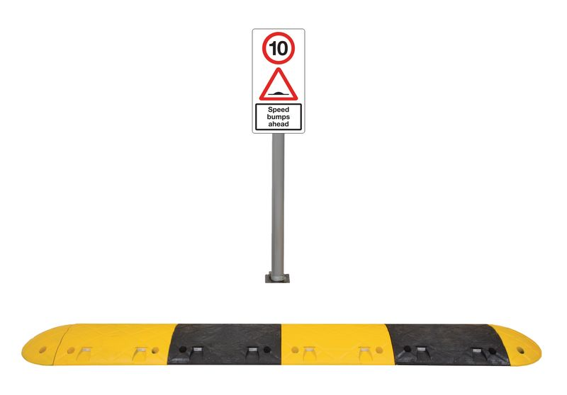 2.3M 10Mph Speed Bump Kit Tarmac With Sign Speed Bumps