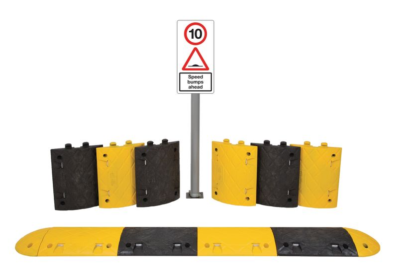 5.3M 10Mph Speed Bump Kit Tarmac With Sign Speed Bumps
